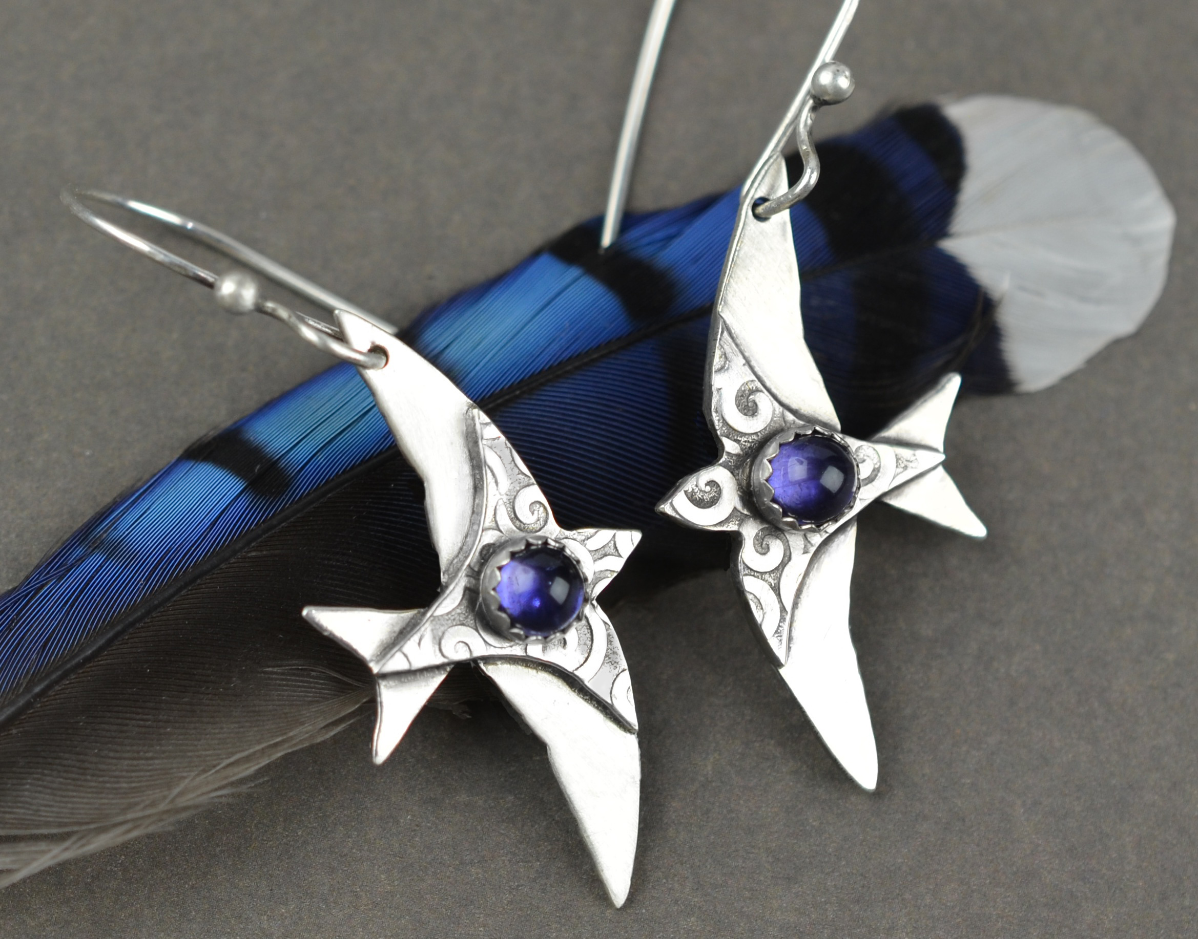 Purple Martin Iolite Earrings